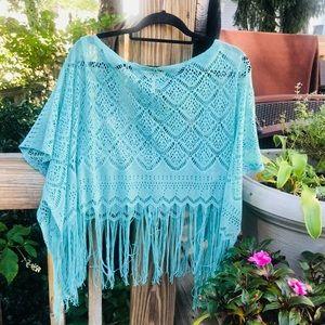Seafoam Crochet Lacey Fringe Top